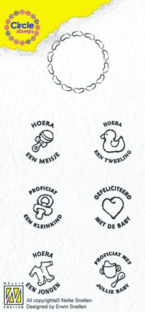 Nellie Snellen - Clearstamp - Circle clear stamps Baby-serie Dutch Texts
