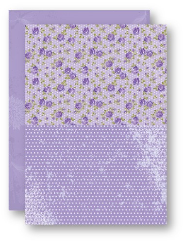 Doublesided background sheets A4 purple roses