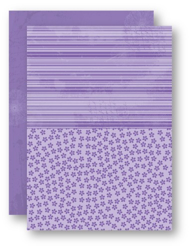 Doublesided background sheets A4 purple flowers