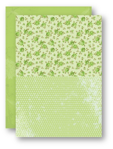 Doublesided background sheets A4 green roses