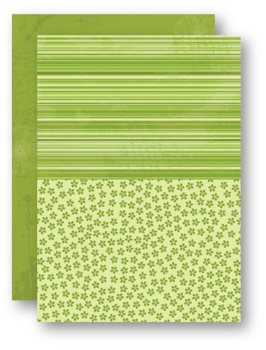 Doublesided background sheets A4 green flowers