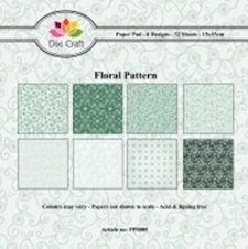 Dixi Craft - Paperpack - Floral Pattern - Groen