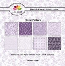 Dixi Craft - Paperpack - Floral Pattern - Paars