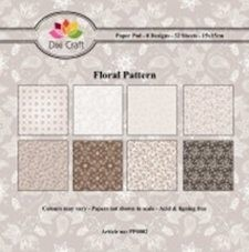 Dixi Craft - Paperpack - Floral Pattern - Bruin