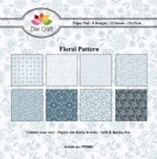 Dixi Craft - Paperpack - Floral Pattern - Blauw