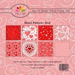 Dixi Craft - Paperpack - Heart Pattern - Rood
