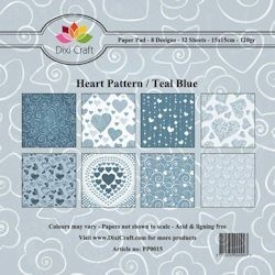 Dixi Craft - Paperpack - Heart Pattern - Blauw