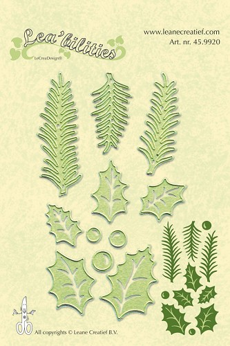 Leane Creatief - Snijmallen - Holly leave, pine branches snij en embossing mal