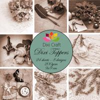 Dixi Craft - Toppers - Vintage flowers - Sepia