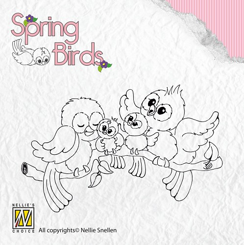 Nellie Snellen - Clearstamp - Spring-birds Happy Family
