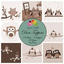 Dixi Craft - Toppers - Owls - Sepia