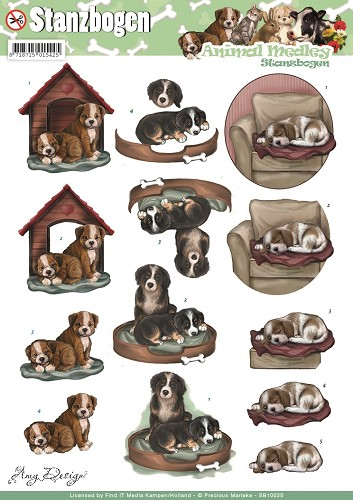 Amy Design - 3D Pushout - Animal Medley - Dogs