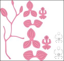 Marianne Design - Die - Collectables - set orchid stamp  stencil set