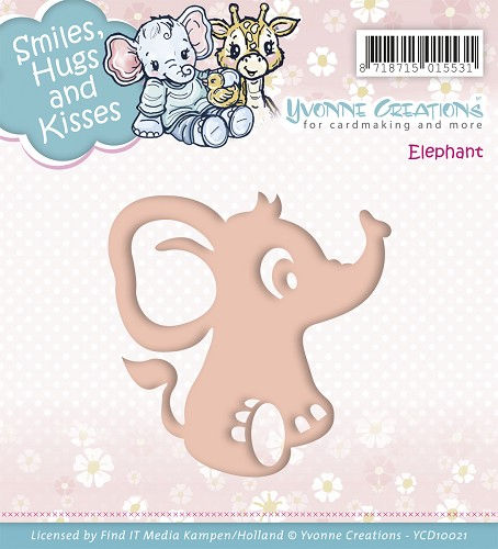 Yvonne Creations - Die - Smiles, Hugs and Kisses - Elephant
