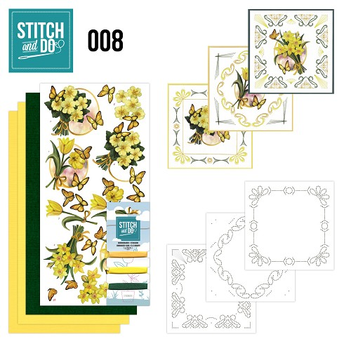 Card Deco - Stitch and Do - Borduurset 8 - Gele bloemen