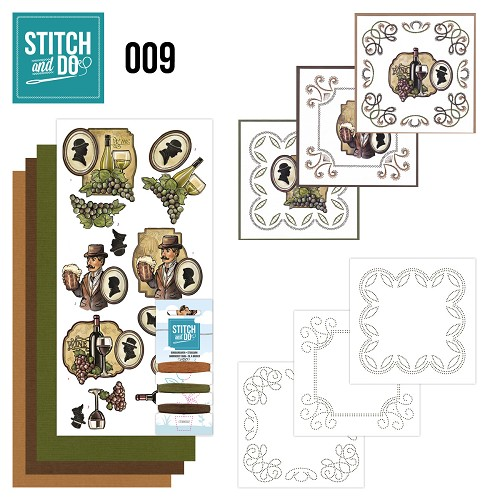 Card Deco - Stitch and Do - Borduurset 9 - Wijn en Bier