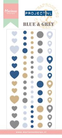 Marianne Design Enamel stickers - blue & gray Project NL