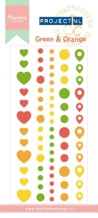 Marianne Design Enamel stickers - green & orange Project NL