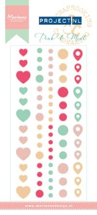 Marianne Design - Enamel stickers - pink & mint Project NL