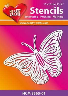 Hearty Crafts - Stencil - butterfly 17,5 x 12,4 cm