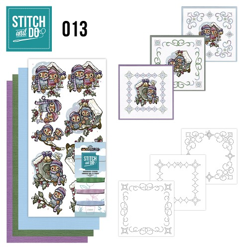 Card Deco - Stitch and Do - Borduurset 13 - Vogelhuisjes