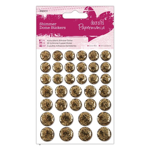 Shimmer Dome Stickers (36pcs) - Gold