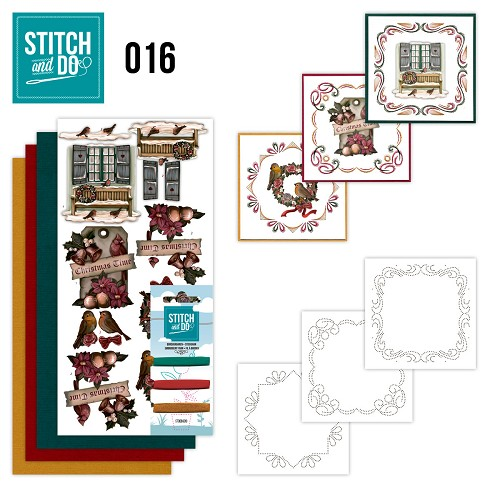 Card Deco - Stitch and Do - Borduurset 16 - Brocante kerst