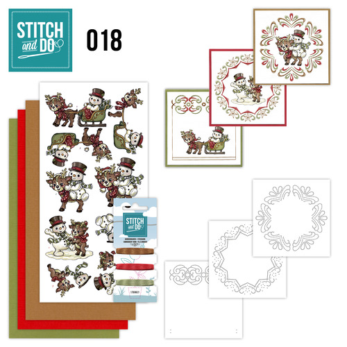 Card Deco - Stitch and Do - Borduurset 18 - Snowman and Reindeer