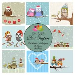 Dixi Craft - Toppers - Winter owls color