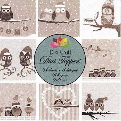 Dixi Craft - Toppers - Winter owls sepia