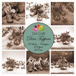 Dixi Craft - Toppers - Christmas shoes sepia