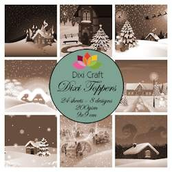 Dixi Craft - Toppers - Christmas village sepia