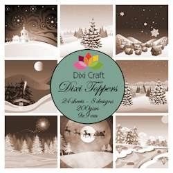 Dixi Craft - Toppers - Christmas landscape sepia