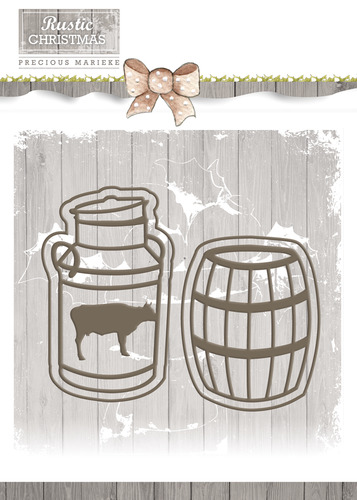 Precious Marieke - Die - Rustic Christmas - Milk Churn and Barrel