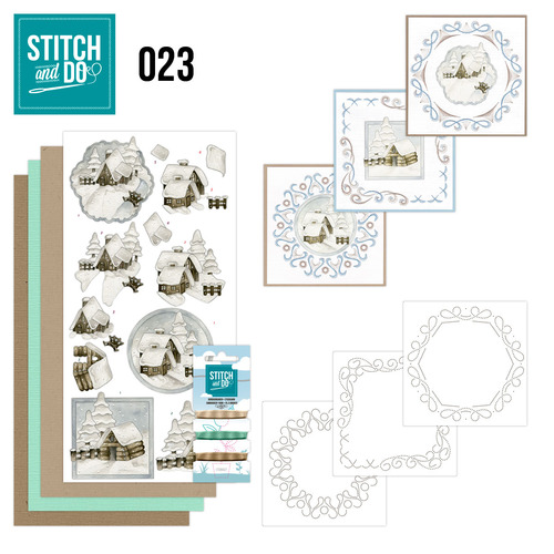 Card Deco - Stitch and Do - Borduurset 23 - Snow Cabins