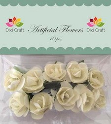 Dixi Craft - Artificial Flowers - rozen - Zachtgeel