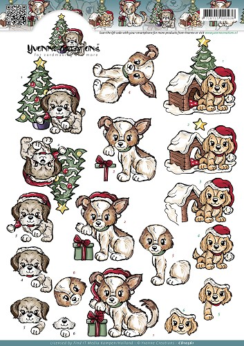 Yvonne Creations - Knipvel - Christmas Puppies