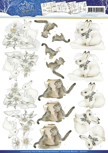 Precious Marieke - 3D Knipvel - Precious Marieke kerst - Winter Wonderland - Winter Animals