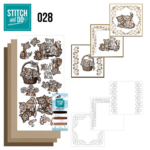 Card Deco - Stitch and Do - Borduurset 28 - Brown Cats