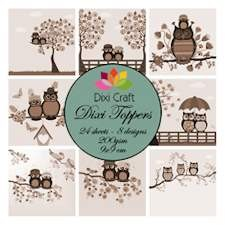 Dixi Craft - Toppers - Owl Sepia