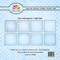 Dixi Craft - Paperpack - lines and squares - Blue