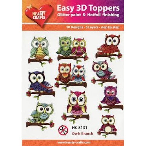 Hearty Crafts - Easy 3D Toppers - Owls Branch