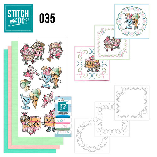 Card Deco - Stitch and Do - Borduurset 35 - Cupcakes
