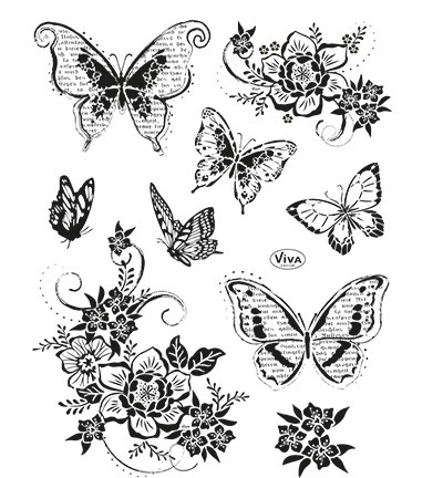 Viva Decor - Clear Stamps - Flowers and Butterflies II