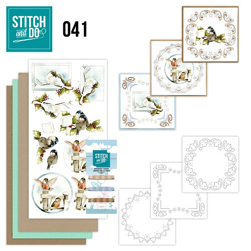 Card Deco - Stitch and Do - Borduurset 41 - Kerstvogeltjes