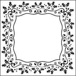 Nellie Snellen - Embossing folder - Christmas square holly frame