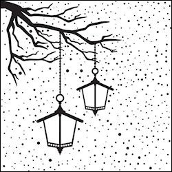 Nellie Snellen - Embossing folder - Christmas scene with lantern