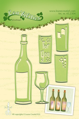 Leane Creatief - Snijmallen - Wine bottle & glass