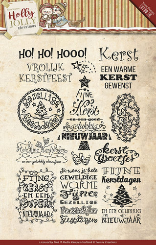 Yvonne Creations - Clearstamp - Holly Jolly - Tekst