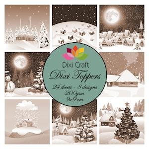 Dixi Craft - Toppers - Christmas Villages Sepia